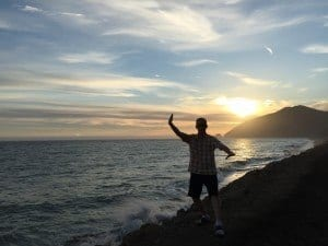 Keith doing Tai Chi (White Crane Spreads its Wings) at Point Mugu California